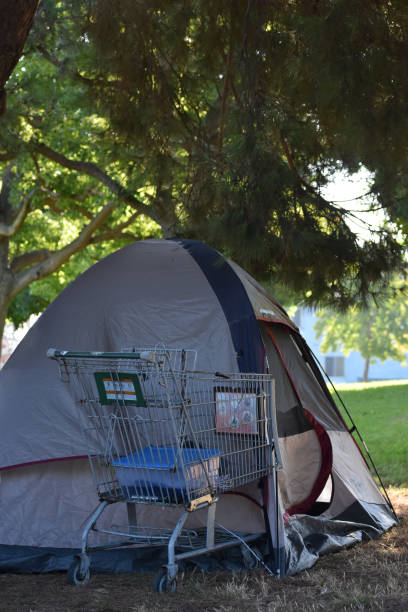 tent in a public park with shopping cart - steven harrie stock photos and pictures