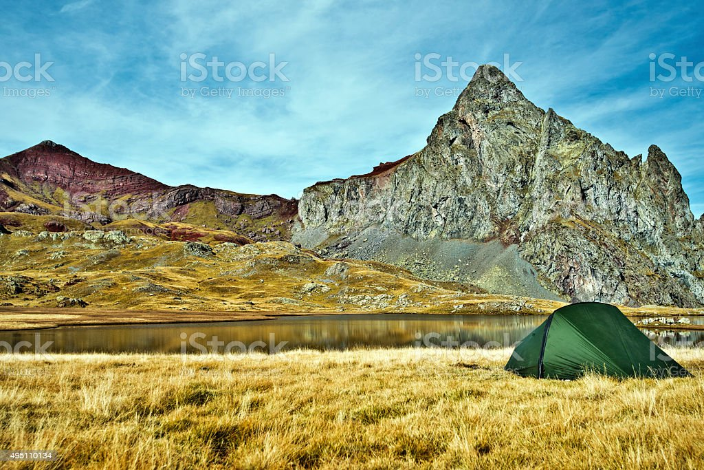 Tent in border of Anayet lake stock photo
