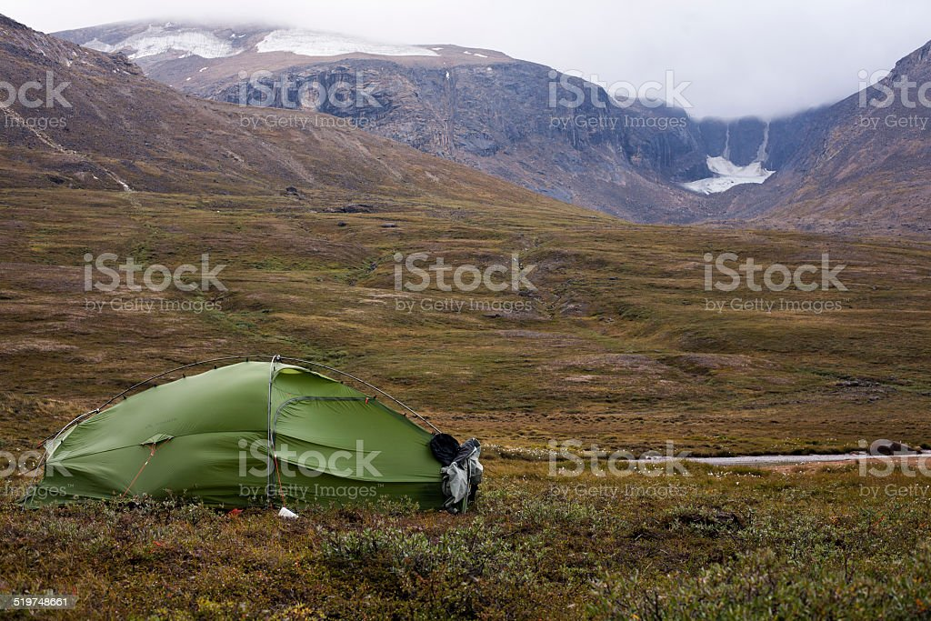 Tent in Greenland stock photo