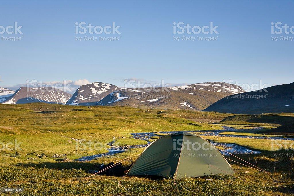 Tent in Sarek National Park royalty-free stock photo