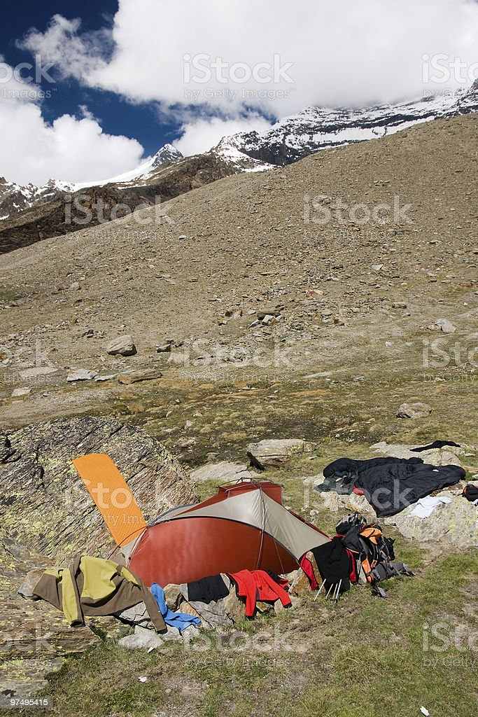 tent in summer mountains royalty-free stock photo
