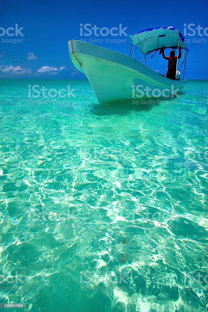 tent in the  blue lagoon relax and boat   mexico stock photo