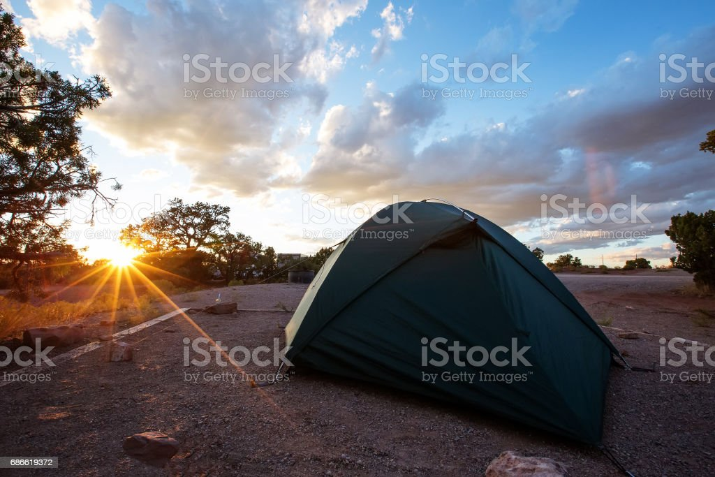 Tent in the camping of Canyonlands National park in Utah, USA royalty-free stock photo