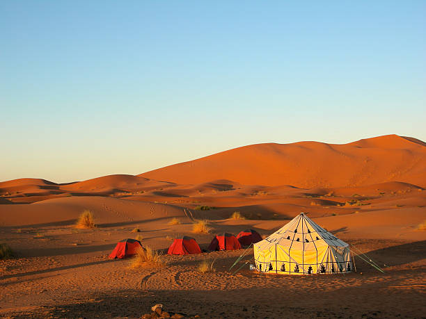 Tent in the desert Tent in the desert with blue sky independent mongolia stock pictures, royalty-free photos & images