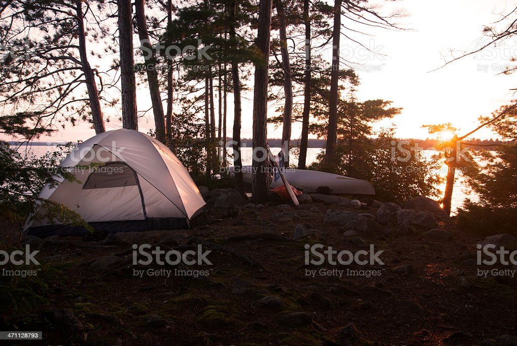 Tent In The Forest at Sunset During A Summer Camp royalty-free stock photo