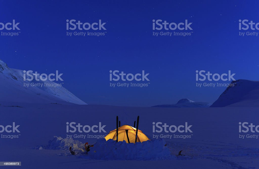 Tent in the snow stock photo
