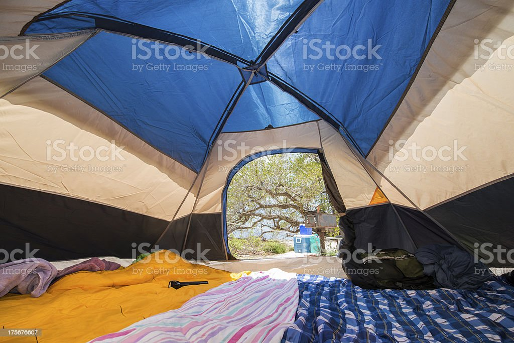 Tent Interior at Florida Keys Campsite stock photo