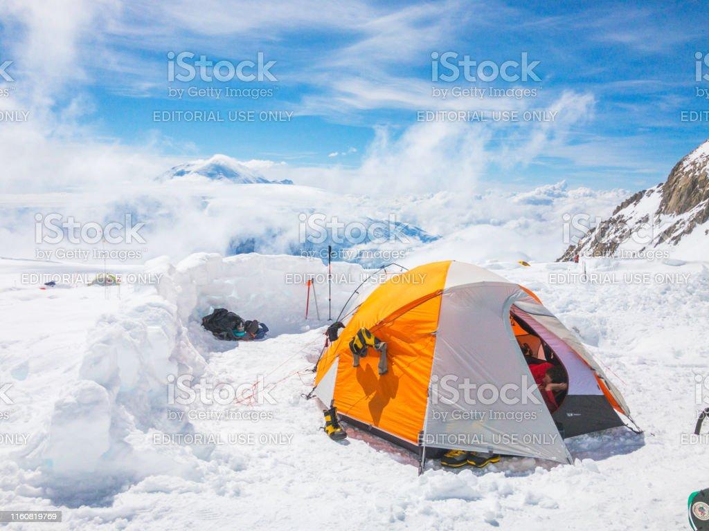 Denali National Park, Healy, Alaska, USA - June 20 2019: Tent life at...