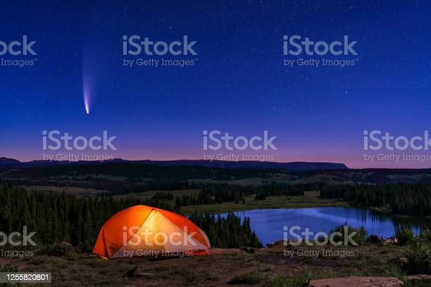 Photo of Tent Lit Up with NEOWISE Comet in Sky