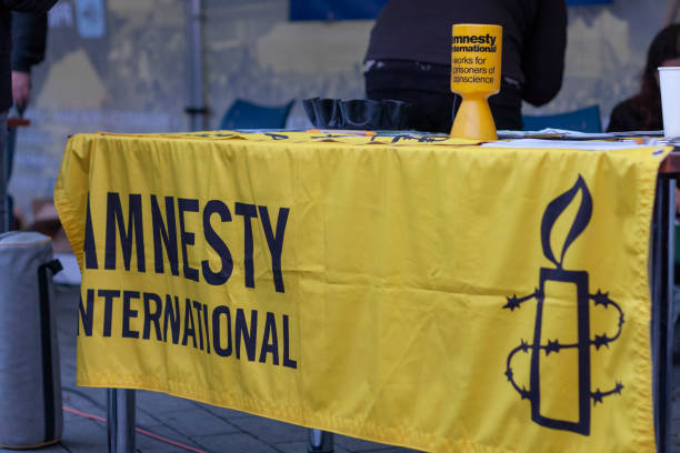 Tent of Activists of Amnesty International on celebration of Velvet Revolution stock photo