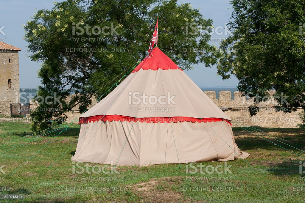 Tent of reconstruction of knights medieval camping photo stock photo