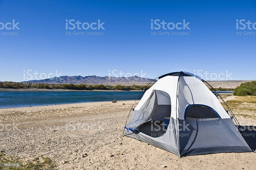Tent On Campground Near Water Edge royalty-free stock photo