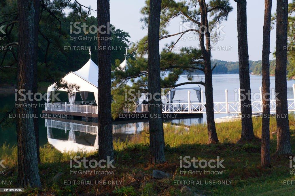 Tent On Lake At Venetian Pier In Lake Lanier Islands Resort Stock