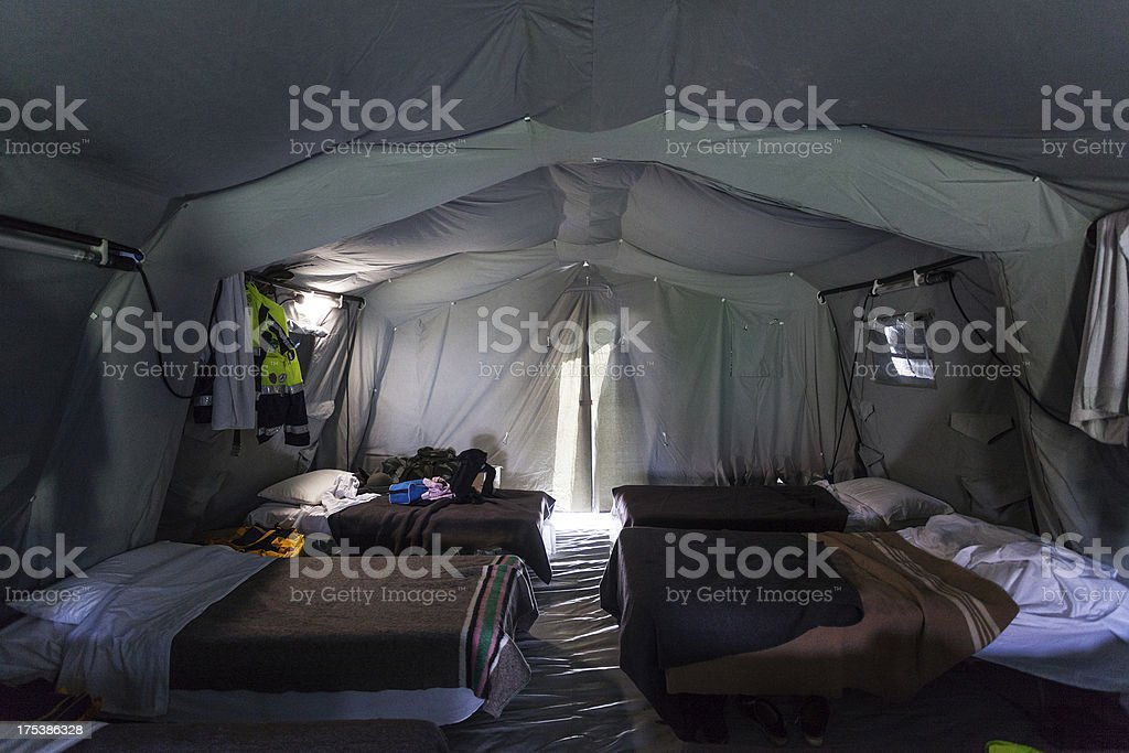 Tent on Refugee Camp after Italian Eartquake of 2012 stock photo
