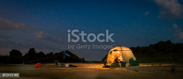 Tent on the river Bank.