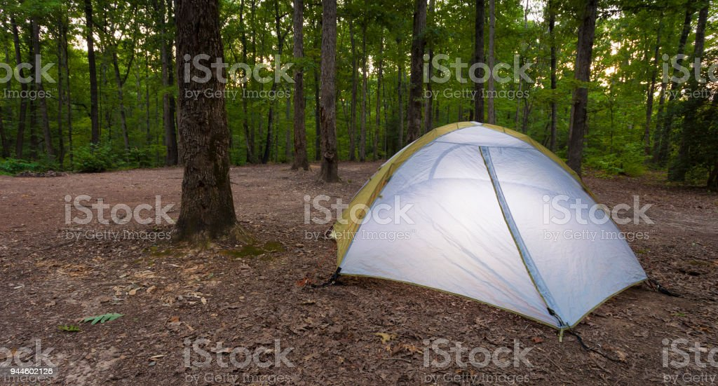 Tent pitched at sunset on Uwharrie National Forest - Stock image . & Tent Pitched At Sunset On Uwharrie National Forest Stock Photo ...