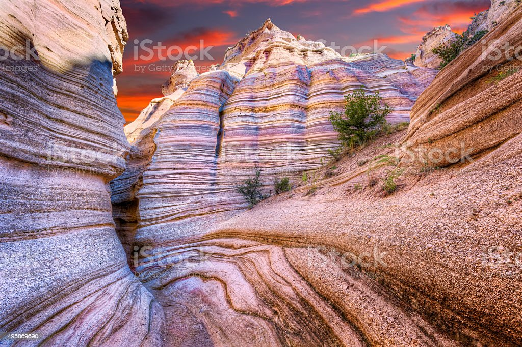 Tent Rocks Canyon at Sunrise stock photo