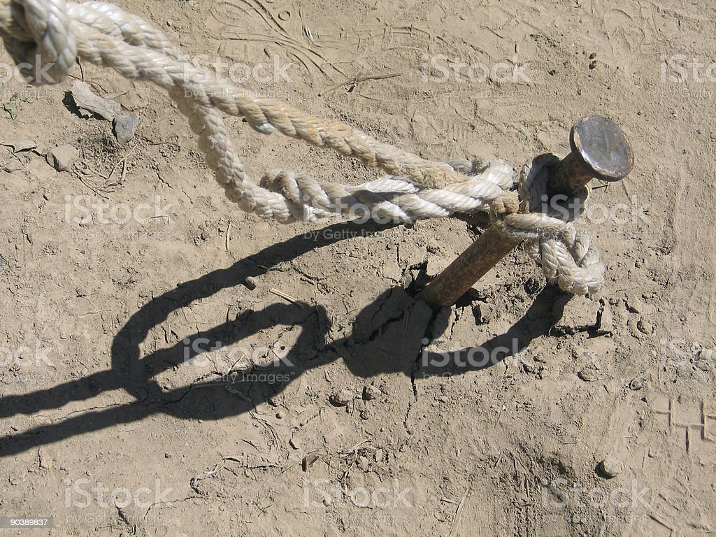 Tent Stake And Rope In Dirt royalty-free stock photo