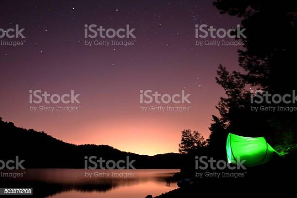 Photo of Tent under the starry sky in Forest