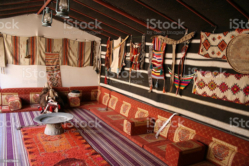 Tent with colorful rustic decorations in various patterns stock photo