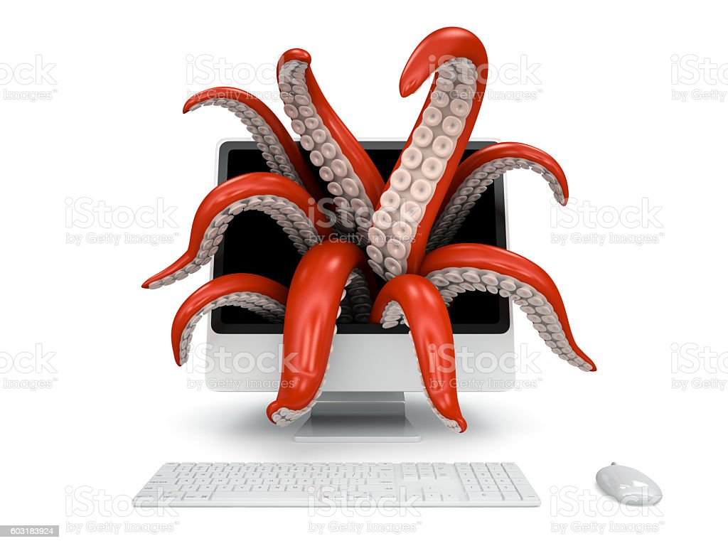 Tentacles getting out of the computer monitor stock photo