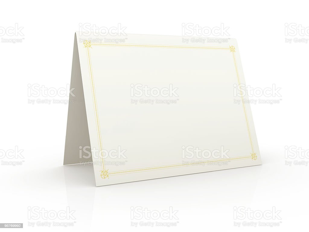Tented blank white card on a white surface stock photo