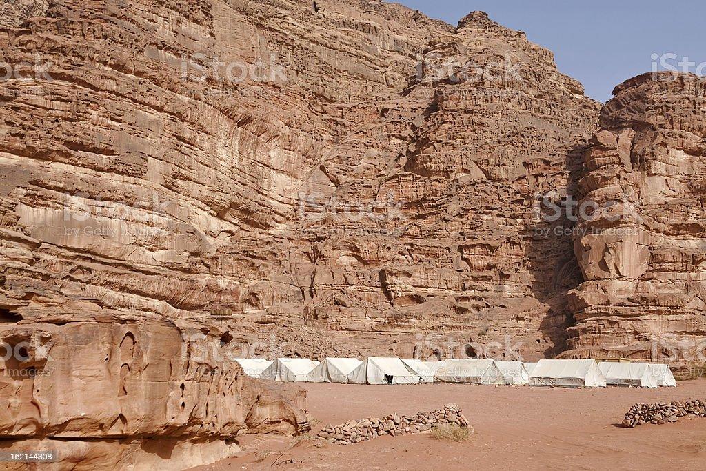 Tented camp in the Jordan Wadi Rum desert royalty-free stock photo