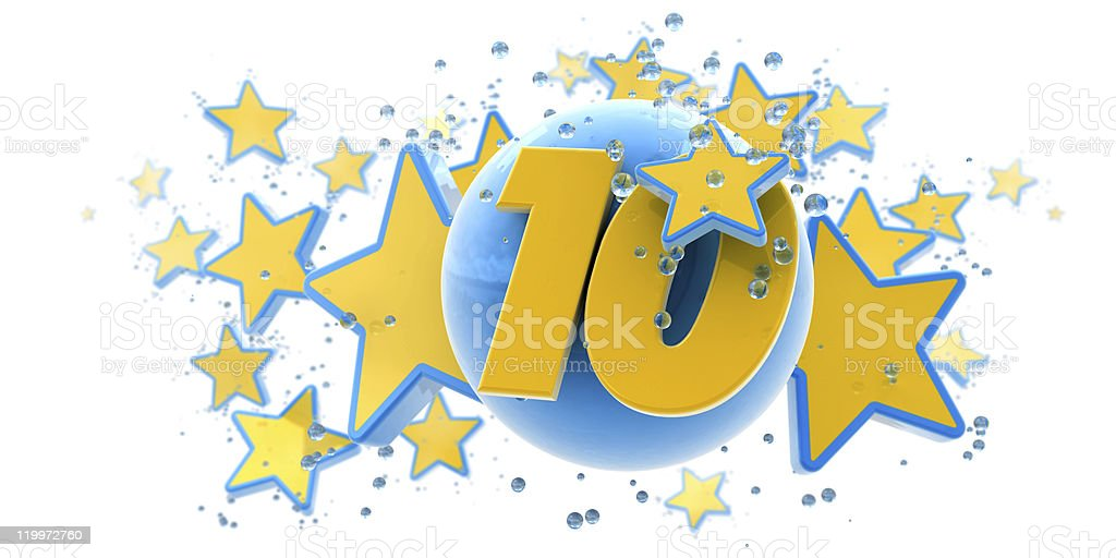 Tenth anniversary blue and yellow stock photo