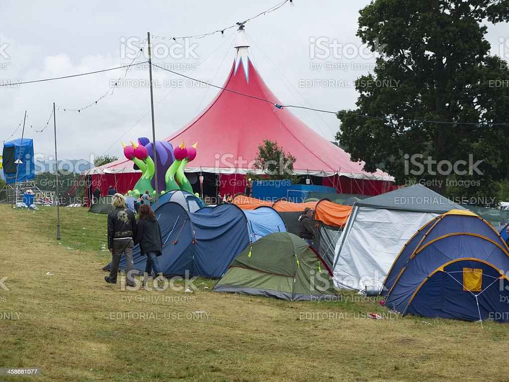 Tents at a music festival royalty-free stock photo