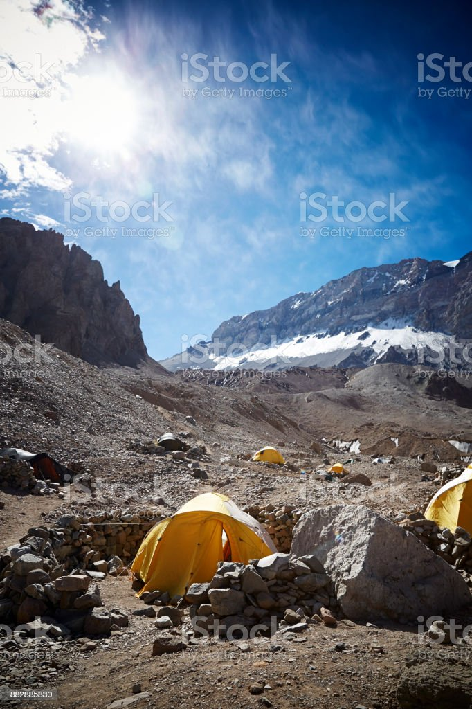 Tents camp on expedition in base-camp mountain Aconcagua, expedition, Argentina. stock photo
