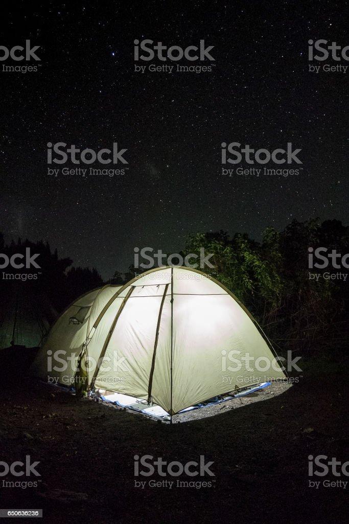 Tents for Kilimajaro hikers, Tanzania stock photo