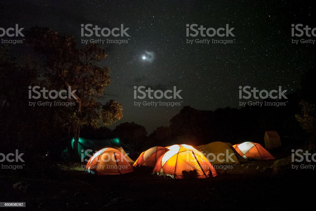 Tents for Kilimajaro hikers, Tanzania stock photo