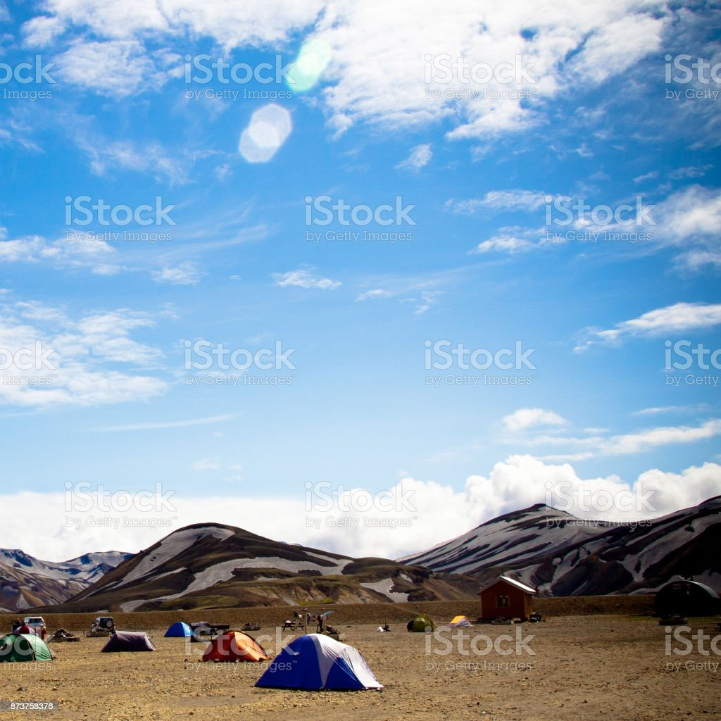 Tents in Iceland in a field stock photo
