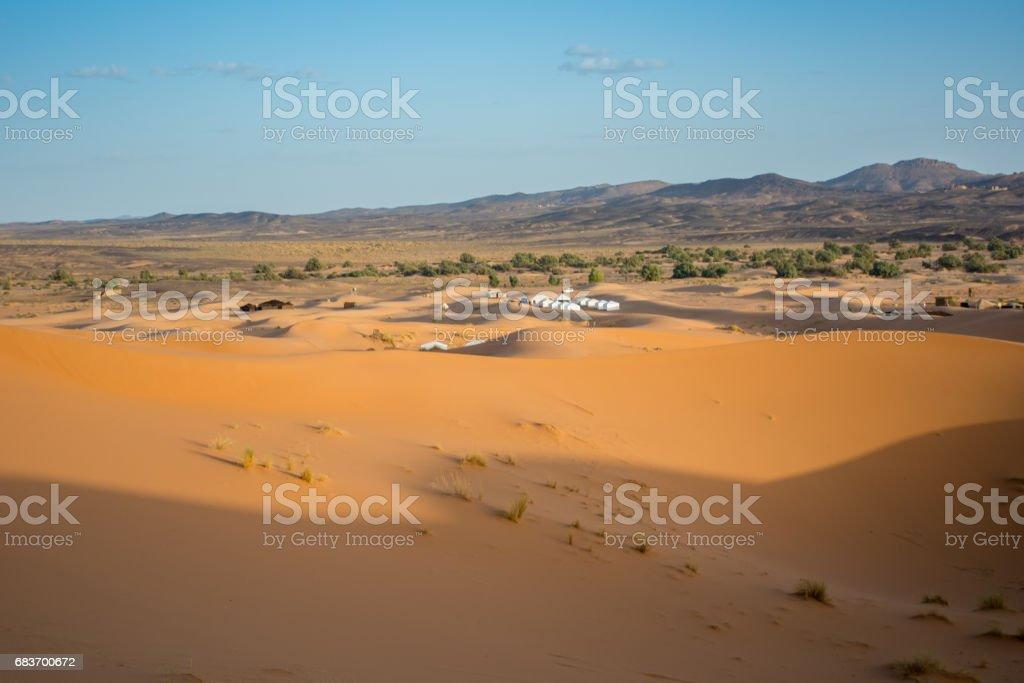 Tents in The Erg Chebbi Dunes stock photo