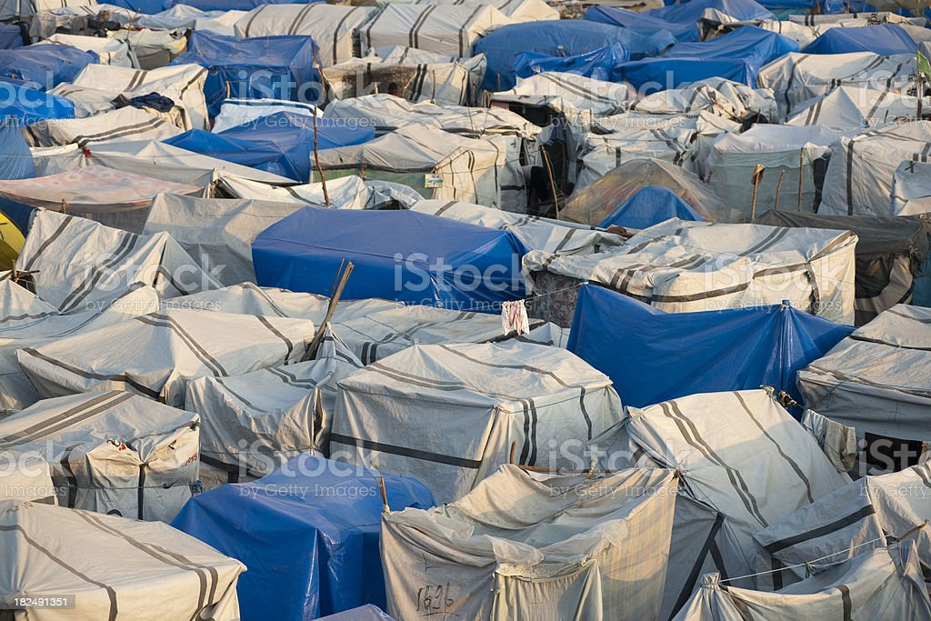 Tents of an IDP camp stock photo