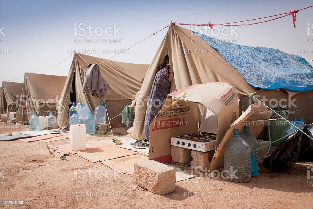 Carpas del plan de desarrollo individual (IDP) del camp en Iraq - foto de stock