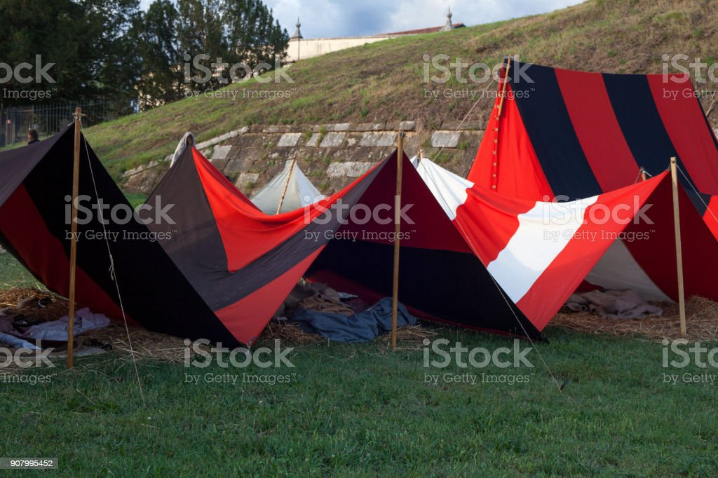 Tents on military camp stock photo