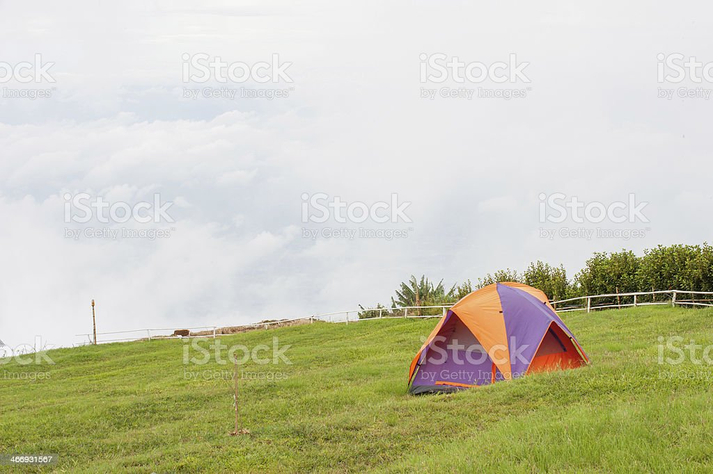 Tents on the green field royalty-free stock photo