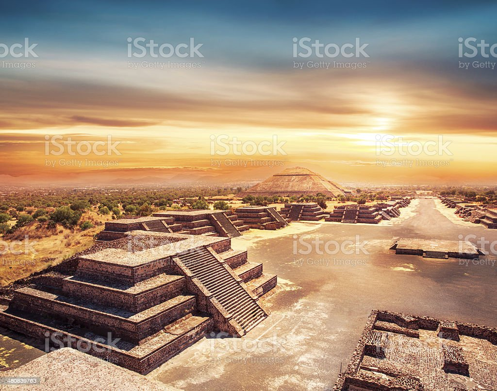 Teotihuacan, Mexico, Pyramid of the sun stock photo