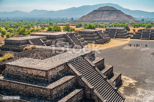 Photo from above of the Teotihuacan pyramids, near Mexico City, Mexico. Teotihuacan was an ancient city, known today as the site of many of the most architecturally significant Mesoamerican pyramids built in the pre-Columbian Americas.
