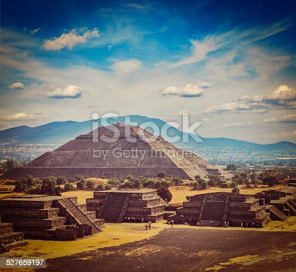 Vintage retro hipster style travel image of travel Mexico background - Ancient Pyramid of the Sun. Teotihuacan. Mexico