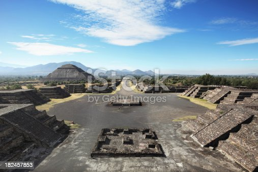 Teotihuacan archeological site panoramic view.