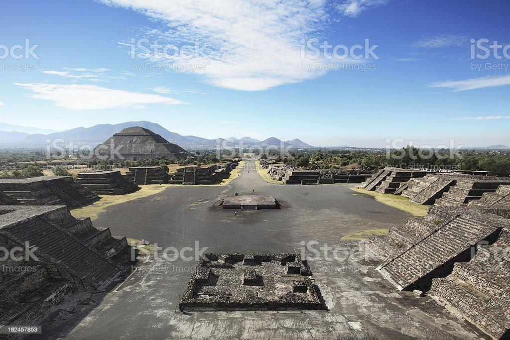 Teotihuacan ruins panorama stock photo