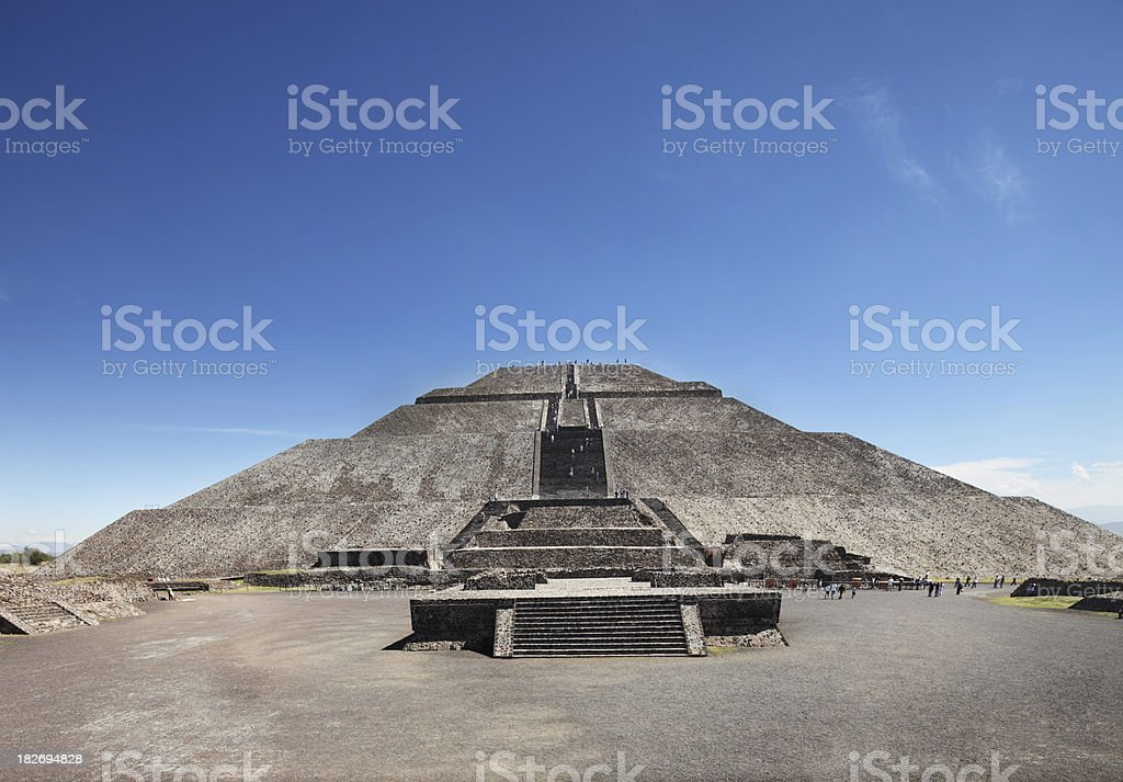Teotihuacan ruins - Temple of the Moon  front view stock photo