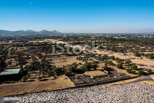 The ruined city of Teotihuacan, Mexico, looking south from the top of the Pyramid of the Sun.