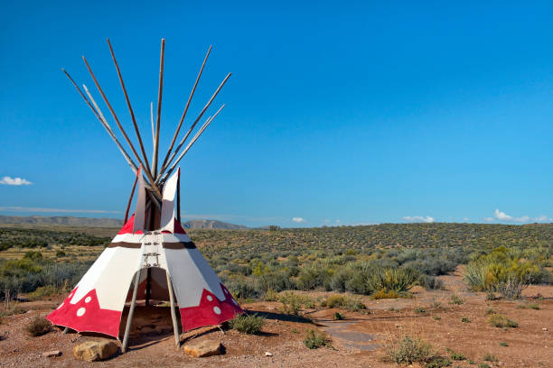 tepee, transfer dwelling of north american indians - native american reservation stock photos and pictures