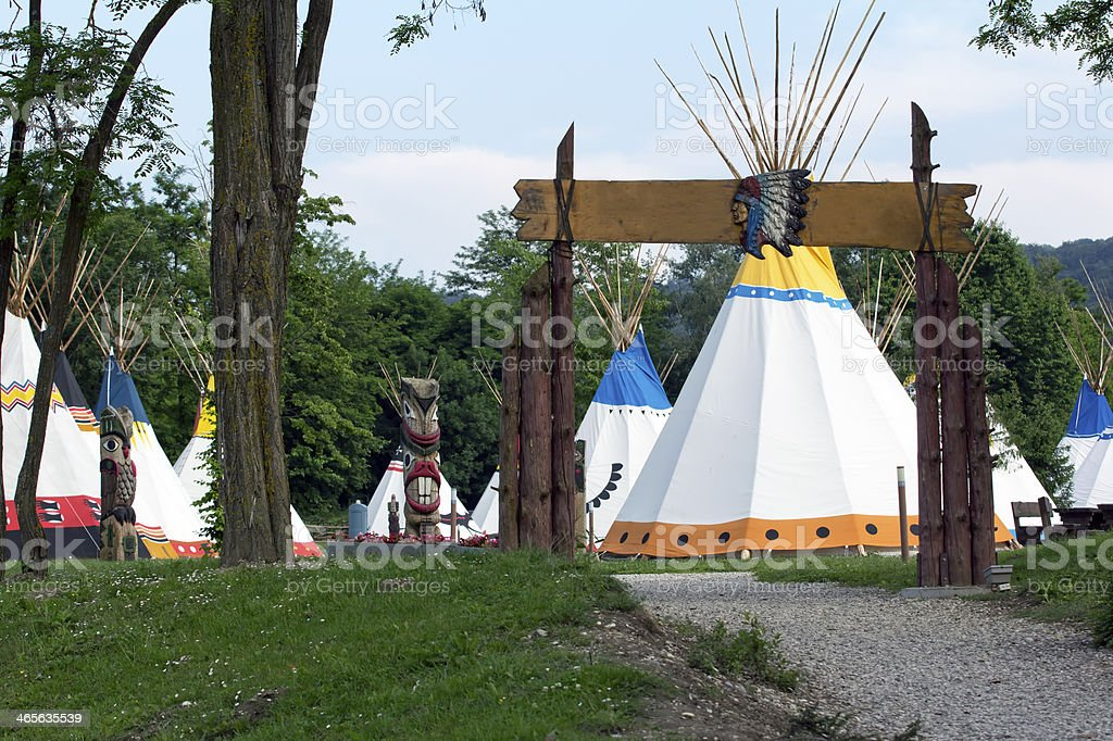 Tepees in the Indian village royalty-free stock photo