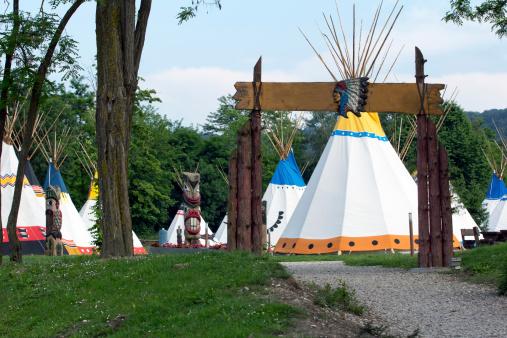 Wigwams in Indian village in historic Jamestown in Virginia.