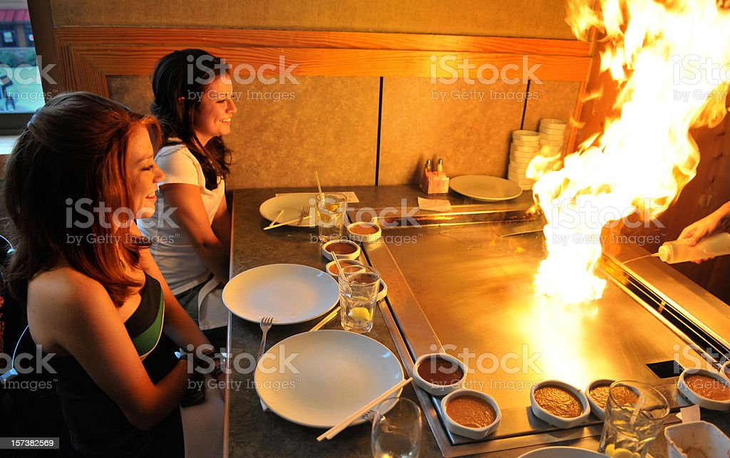Teppanyaki Flameout royalty-free stock photo