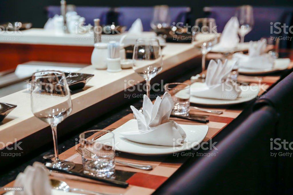 Teppanyaki Restaurant Table Setting Royalty Free Stock Photo